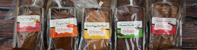 The best gluten-free sweet breads available. Outrageous Baking sweet breads are available in pumpkin, lemon poppy seed, cranberry orange, chocolate zucchini and the original cinnamon coffee cake.